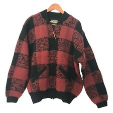 VTG Ralph Lauren Womens Polo Country Cardigan Large 100% Wool Plaid Red Black