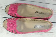 Shoe Tree Pink Peep Toe Flat Ladies Summer Shoes UK 8