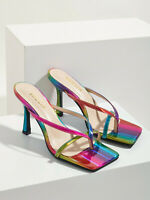 Stiletto Flip Flop Sandals Square Toe Rainbow Slippers Hot High Heel Women Shoes