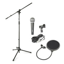 More details for complete band singing recording artist microphone, stand, clip & pop shield set