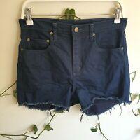 Nobody Dark Blue Wash Siren Denim Shorts 29 Super High Rise Short Length Frayed