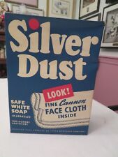 VINTAGE SILVER DUST SAFE WHITE SOAP GRANULES 4 LAUNDRY & DISHES + FACE CLOTH NIB