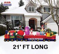 21' Colosal Christmas Train w/ Santa Air Blown Inflatable Lighted Yard Decor