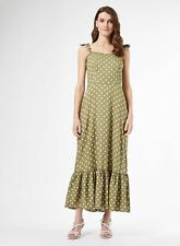 Dorothy Perkins Womens Green Spot Print Tie Midi Sundress Sleeveless Polka Dot