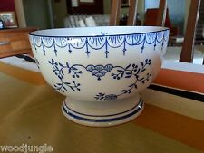 Gorgeous Royal China Porcelain Footed Blue Lace Denmark Footed Bowl Sauce