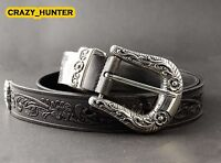 Men's Geniune Leather Belt Biker Rocker Style Thick High Quality Cowhide