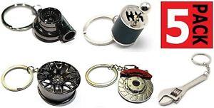 Turbo Keychain + Gearbox + Wheel Tire + Brake Rotor + Wrench Keychain Auto Gift