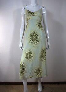J. CREW 100% SILK SPAGHETTI STRAP DRESS SIZE 10 Floral Green Yellow 141