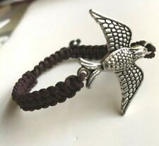 Silver Eagle Bracelet Rope Plated Bird Adjustable Acrylic Brown USA