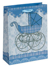 Vintage Blue Pram Small Luxury Gift Bag