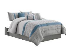 7-Pc Oliver Comforter Set|Diamond Cube Chevron Geometric|Blue Gray Silver|Queen