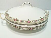 "POPE-GOSSER CHINA 9"" VEGETABLE SERVING BOWL, BEAUTIFUL PINK FLORAL & GOLD  TRIM"
