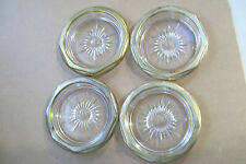 "Set Of 4 Glass Crystal Gold Trim Pin Coin All Purpose Mini Bowl Dish 4"" Across"