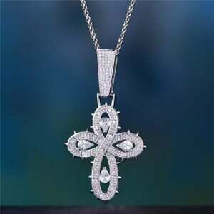 Solid 925 Sterling Silver Cross Design Biker Style Hip-Hop Pendant With Shiny CZ