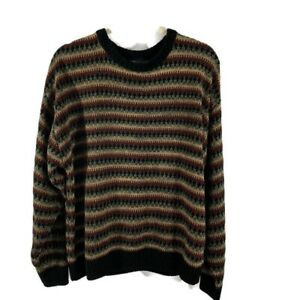 Jantzen Mens Sweater L Pull Over Crew Neck Stripes Long Sleeves Brown Gray