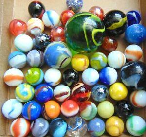Marbles Lot Of 50 Vintage Peltier Akro Agate Christensen Agate Marble King More