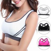 A1690 New Women's Stretch Padded Racerback Sports Bra Back Cross Yoga Vest Top