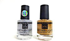INM Nail Northern Lights Hologram Top Coat Glitter GOLD + SILVER .5oz/15ml ~2CT~