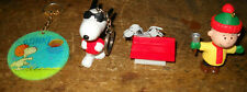 VINTAGE 4 LOT PIN SNOOPY KEYCHAIN+DOGHOUSE FOOTBALL LINUS RINGING BELL PEANUTS