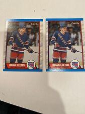 1989-90 O-Pee-Chee BRIAN LEETCH - ROOKIE CARD!  #136 MINT N Y Rangers  Lot Of 2
