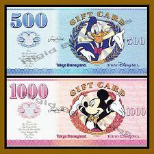 Disney Tokyo 500 1000 Yen Gift Card Set, Like Disney Dollar Donald & Mickey Unc
