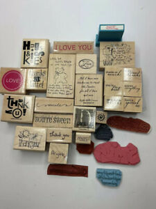 Words & Phrases Wood & Cling Stamps Lot of 30