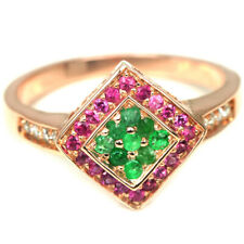 REAL GREEN COLUMBIAN EMERALD, RED RUBY & WHITE CZ STERLING 925 SILVER RING 6.5