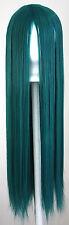 32'' Long Straight No Bangs Viridian Teal Green Blue Cosplay Wig NEW