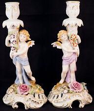 Pair of Von Schierholz Dresden Porcelain Winged Cherub Candle Holders