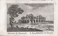 ANFITEATRO POZZUOLI - Incisione Originale Mariano Vasi 1821 Amphitheater Naples