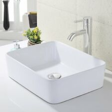 KES Bathroom Rectangular Porcelain Vessel Sink Above Counter White Countertop...