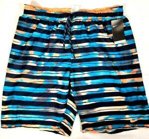 Nike Men's Swim Trunks Black /Blue / Peach Size XXL NWT Retail $58