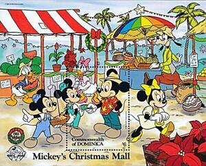 DOMINICA 1988 CHRISTMAS / DISNEY HEROES S/S #2 MNH FOOD, PALM TREES
