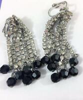 "Rhinestone Crystal Dress Earrings Brilliant Chandelier Black Bead Dangle 2""  Vtg"
