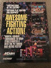 Vintage 1993 MORTAL COMBAT Video Game Print Ad SEGA GENESIS SUPER NES GAME BOY