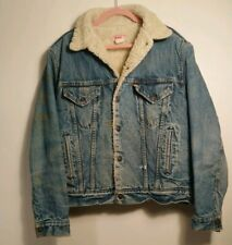 Men's Vintage Levis Blue Denim Sherpa Lined Trucker Jacket Size 44 Large L USA