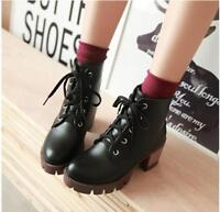Womens PU Leather Lace Up Platform Round Toe Block Heel Shoes Ankle Boots Black