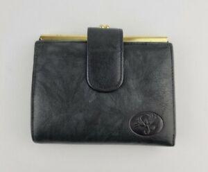 Vintage Buxton Women Black Leather Bi Fold Wallet Kiss Lock Coin Purse