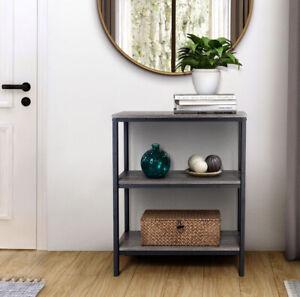 Zenvida Bookshelf 3 Tier Industrial Shelves Rustic Modern Metal Etagere Bookcase