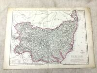 1857 Antique Map of Suffolk County England 19th Century Old Hand Coloured