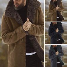 Hombre Piel Forro Polar Espesar Solapa Abrigo Chaqueta Invierno Cálido Informal