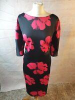 AX Paris Curve Black Floral Scoop Neck 3/4 Sleeve Bodycon Midi Dress Size 22