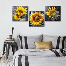 Wall Art Canvas Sunflower 3 Piece Bedroom Home Decor Rustic 12x12