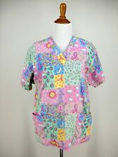 Breast Cancer Scrub Top M Womens Pink Patterned Ribbon Pastel PEACHES BRAND