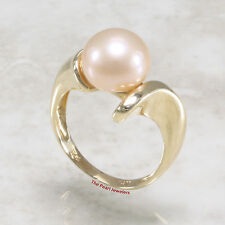14k Yellow Gold; Lustrous 9mm Romantic Pink Cultured Pearl Solitaire Ring TPJ