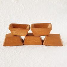 5x Terracotta Brown Square Pot Dollhouse Miniatures Fairy Garden Supply Decor