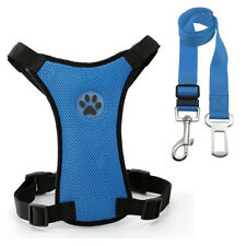 Mesh Puppy Pet Dog Car Harness and Seat Belt Clip Lead Safety for Dogs Travel UK
