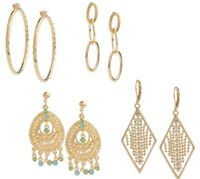 "Joan Rivers ""Look of Gold"" 4 Pair Earring Wardrobe QVC  $99.99"