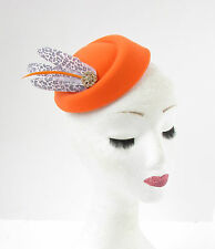 Orange Grey Leopard Print Feather Pillbox Hat Fascinator Rockabilly 1950s 2382