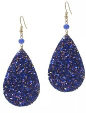 Blue Glittering Leather Teardrop Earrings Drop Dangle Hook Party
